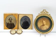 Lot Of 5 Antique Tintype & Other Framed & Brooch Pin Photographs 10770