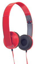 Sound Lab Slim Profile Folding Foldable Computer Phone Stereo Red Headphones