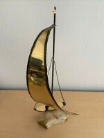 "Large 21.25"" Brass Sailboat Art Sculpture on Marble Signed by Artist on Base"