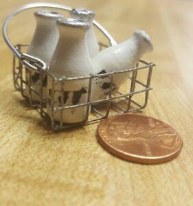 Dollhouse Miniature  Milk bottles in basket Artist made