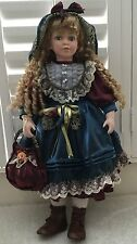 "LARGE 26"" German Doll with long blond curly hair Porcelain head and limbs"