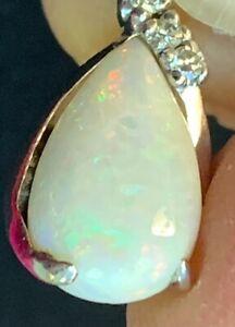 Vintage 14k White gold~3 Diamond~Huge 3 cts pear Shaped Flashy Opal pendant~2 gm