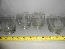 Vintage Set 4 Etched Op Sail 80 Glasses Boston Mass Rare Old Fashioned Bar Htf
