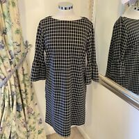 Next Size 12 checked black white fluted sleeve work office business career dress