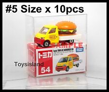 TOMICA SIZE #5 PROTECTIVE CLEAR PLASTIC BOX 10 PCS DIECAST CAR NEW TOMY