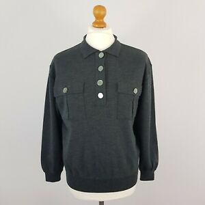 Windsmoor Women's Grey Long Sleeve Buttoned Pull Over Wool Jumper Size M UK 14