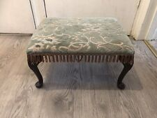 Lovely Vintage Foot Stool Foot Rest Seat With Queen Anne Style Legs & Floral Top