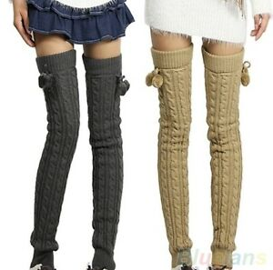 Thick Sweater Knitted Crochet Over The Knee Socks Leg Warmers Footless Hot Pants