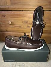 Timberland Mens Bantham Boat Shoe Shoes Brown Leather Size UK9.5 Deck Loafer