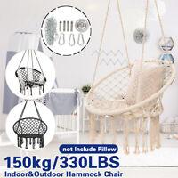330lbs Swing Hammock Chair Hanging Round Macrame Cotton Rope Indoor Outdoor US