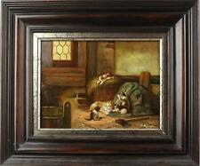 Original Ölgemälde von Samuel Koch  spielende Katzen mit Rahmen 38x32 cm ca1945
