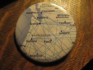 United Airlines Seattle Vancouver Pacific Northwest Route Map Lapel Button Pin
