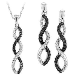Donna Oro Bianco Finitura Diamante Pendente Orecchini + Ciondolo
