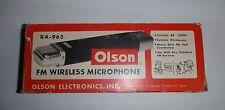 Vintage OLSON RA-963 FM WIRELESS MICROPHONE RARE HEAVY DUTY DIE CAST 9 VOLT