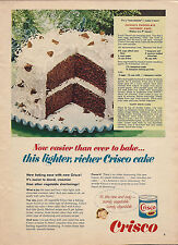 1963 CRISCO AD Vintage Food~Chocolate Coconut Cake Recipe~Baking Kitchen Decor