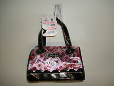 Hello Kitty Small Pink With Flowers Satchel Tote Bag Purse Shiny Patent - NEW