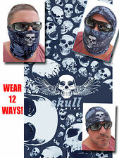 Multi SKULL FACE MASK Tube Bandana Motorcycle Paintball Gray Headgear Ski SCARF