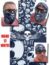 Multi SKULL FACE MASK Tube Bandana Motorcycle Paintball Gray Headgear Ski SCARF