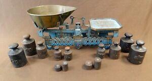 Alte Waage 5Kg, antike Waage, Krämer, Marktwaage, Kaufleute, mit Gewichten