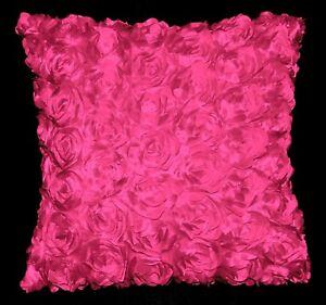 Sa210a Hot Pink 3D Flower Taffeta Satin Cushion Cover/Pillow Case*Custom Size