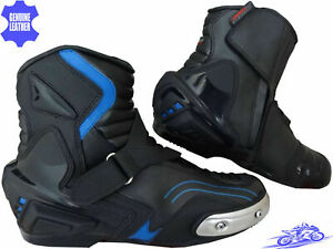 MENS HIGH TECH BLACK LEATHER MOTORBIKE MOTORCYCLE CE RACING BOOTS SPORTS SHOES
