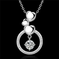 925 Sterling Silver AAA Zircon Heart Pendant Necklace Women Fashion Jewelry Gift