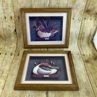 Vintage 80s Oak Framed Prints Pintail Duck & Teal Drake 1987 Bayside Art FLAW