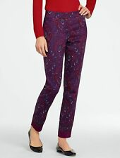 NEW $129 TALBOTS Signature Burgundy,Red Paisley Cotton,Silk Ankle Pants Sz 8