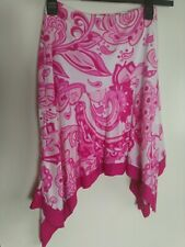Jane Norman Pink And White Lined Skirt Dip Hem Uk12 24 Inch Waist Length 19 Inch