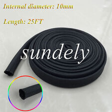 Hi-Q Black Heat Protector Woven Sleeve Spark Plug Wire High temp 10mm ID x 25FT