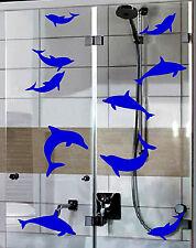 12 Dolphin Stickers Vinyl Decal Wall Bath Screen Glass Window Bathroom Blue +
