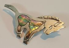 TAXCO MEXICO 925 STERLING SILVER ABALONE MOTHER OF PEARL SET HORSE PIN BROOCH