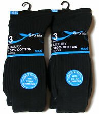 Mens Purista 6 Pairs Luxury 100 Cotton Black Rib Socks