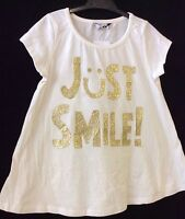 CUTE JUST SMILE LOGO GLITTER T-SHIRT TOP AGE 4 5 6 7 8 9 10 11 YEARS