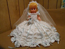 Doll in Handcrafted Knit Crochet Bride White Wedding Dress Original 1970s
