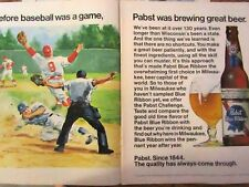 "1976 Pabst Blue Ribbon Before Baseball Was A Game Original Print Ad x 11""2 page"