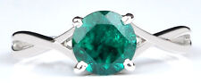 Natural Green Emerald 14KT Solid White Gold 1.50CT Round Shape Anniversary Ring