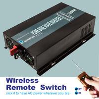 48V to 120V Power Inverter 2000W Pure Sine Wave Remote Switch Car Truck Camp RV