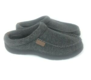 Dearfoams Mens Slip On Slippers Dark Heather Grey Large 9/10 Padded Insole Comfy