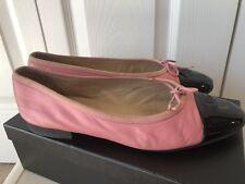 Chanel Pink & Black Cap Toe Ballet Flats 40 10