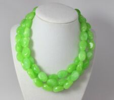 Chunky lime apple green necklace,multi strand statement apple green necklace