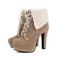 Women's Platform Chunky Suede Ankle Boots Lace Up High Block Heel Casual Shoes @