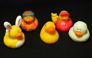 Rubber Ducks Lot of 5 Easter Rabbit Halloween Mummy Hippie Love Small Ducky