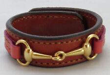 Equestrian Bit Bracelet Pink Chestnut Leather Gold Snaffle Horse Handcrafted