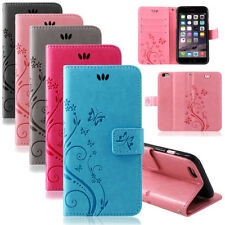 iPhone Handy Tasche Handyhülle Schutz Hülle Blumen Flip Cover Buch Case Etui