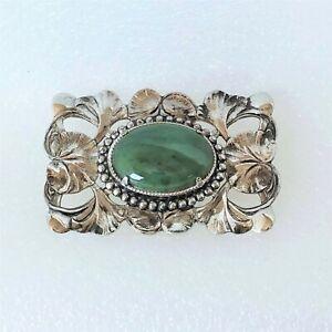 Vintage / NEW Brooch Pin Oval Natural Green Jasper Cabochon Silver Tone