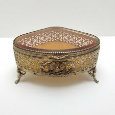 Vintage Jewelry Box Gold Gilt Triangle Amber Glass Metal Casket 8in