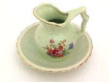 Pitcher & Bowl Set Green Floral Bouquet Japan Porcelain Flowers Vintage
