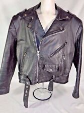 Wilsons Men's Jacket Leather Motorcycle Biker Rocker Black 70's 80's Vintage XL