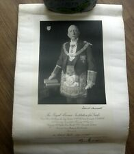 1925 Vintage Masonic Institution For Girls Certificate Scroll 137th Anniversary